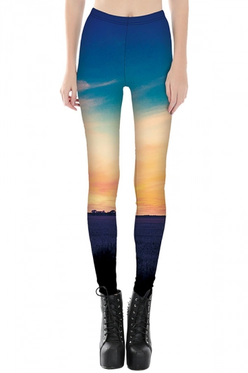Womens Slimming Contrast Color Sky Printed Cropped Leggings Blue