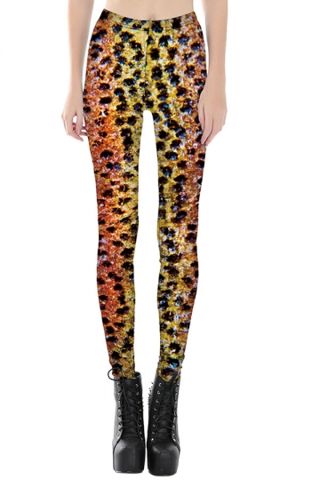 Womens Slimming Leopard Printed Cropped Leggings Yellow