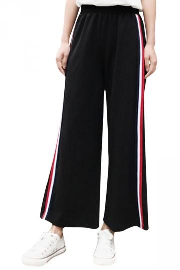Womens Casual Stripes Wide Legs Side Slits Pants Black