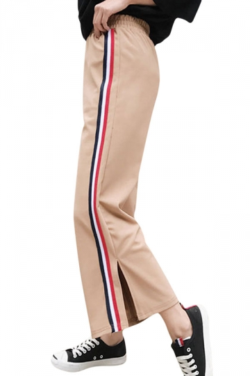 Womens Casual Stripes Wide Legs Side Slits Pants Khaki