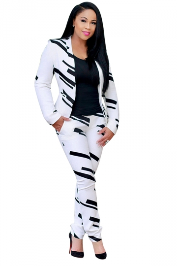 Womens Classic Printed Slimming Two Pieces Suit White