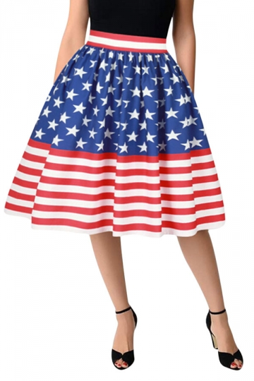 Womens Fashion Stars&Stripes Printed Bubble Midi Skirt Blue