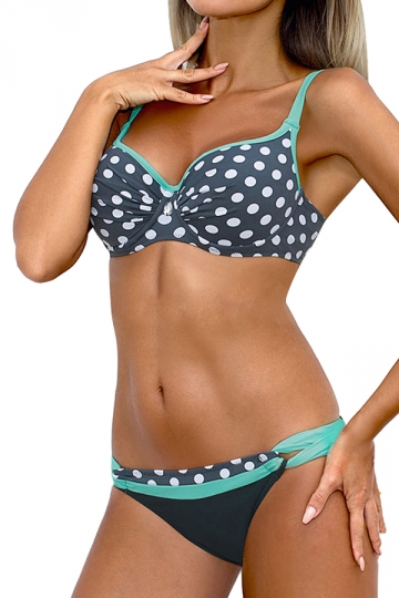 Womens Sexy Straps Polka Dot Padded 2 Pieces Bikini Set Blue