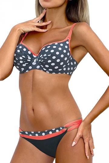 Womens Sexy Straps Polka Dot Padded 2 Pieces Bikini Set Pink