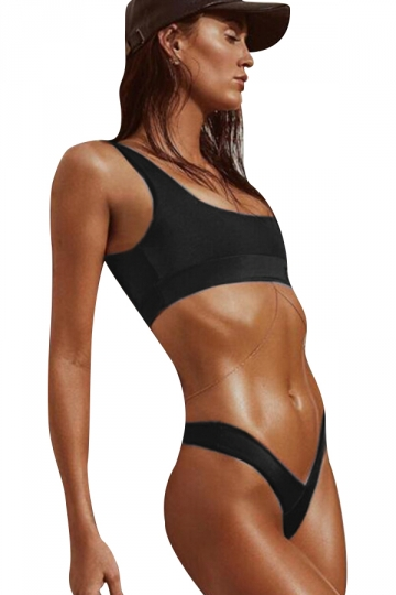 Womens Sexy Plain Two Pieces Sports Style High Waist Bikini Black
