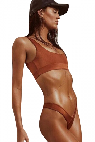 Womens Sexy Plain Two Pieces Sports Style High Waist Bikini Orange