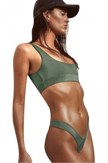 Womens Sexy Plain Two Pieces Sports Style High Waist Bikini Green
