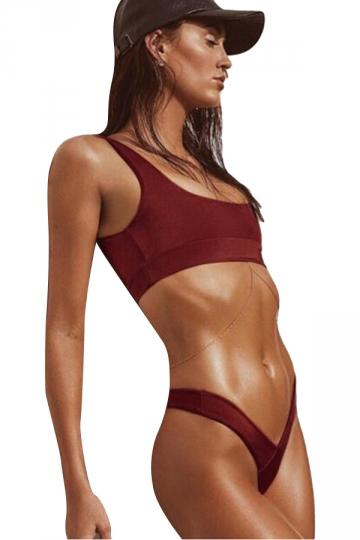 Womens Sexy Plain Two Pieces Sports Style High Waist Bikini Red