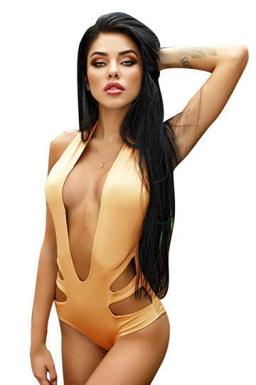 Womens Sexy Halter Deep V-Neck Backless Cut Out Monokini Khaki