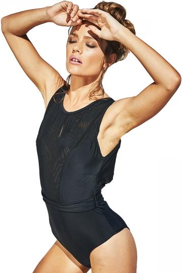 Womens Sexy Mesh Patchwork Padded Classic Monokini Black