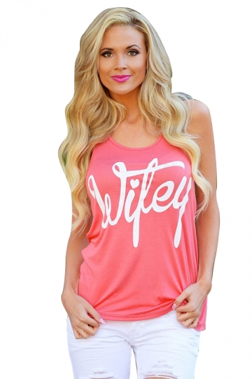 Womens Casual Sleeveless Letter Printed T-Shirt Watermelon Red