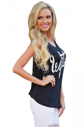 Womens Casual Sleeveless Letter Printed T-Shirt Navy Blue