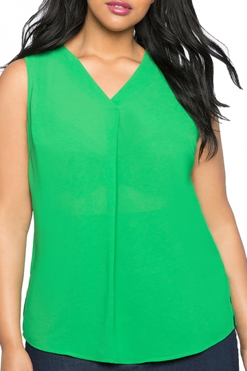 Womens Plus Size Plain V Neck T-Shirt Green