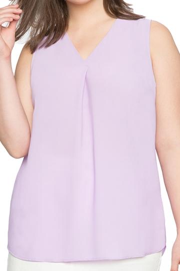 Womens Plus Size Plain V Neck T-Shirt Light Purple