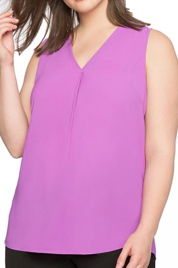 Womens Plus Size Plain V Neck T-Shirt Purple