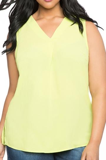 Womens Plus Size Plain V Neck T-Shirt Yellow