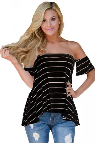 Womens Sexy Striped Short Sleeve Off Shoulder T-Shirt Black
