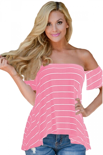 Womens Sexy Striped Short Sleeve Off Shoulder T-Shirt Pink