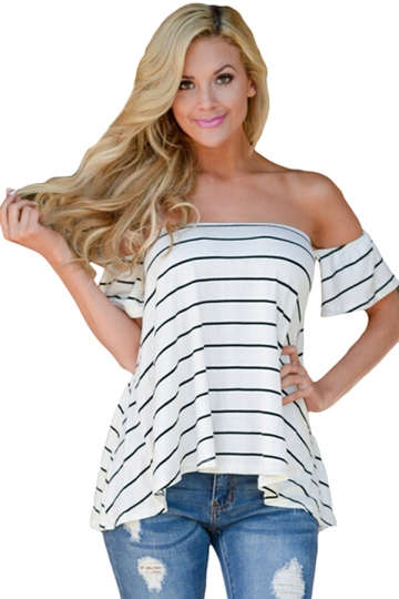 Womens Sexy Striped Short Sleeve Off Shoulder T-Shirt White