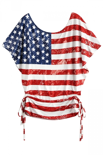 Womens Flag Printed Batwing Sleeve Draw String T-Shirt Red