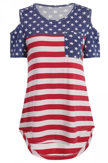 Womens Cold Shoulder Pocket High Low Flag Printed T-Shirt Red
