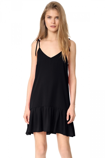 Women Sexy V Neck Straps Ruffled Hem Lacing Smock Dress Black
