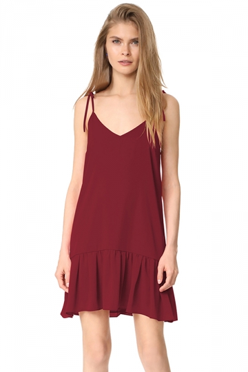 Women Sexy V Neck Straps Ruffled Hem Lacing Smock Dress Ruby