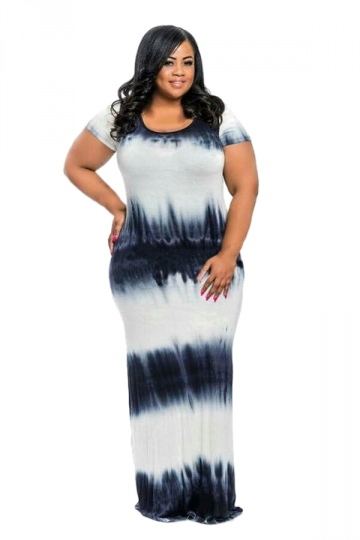 Women Plus Size Crew Neck Printed Short Sleeve Maxi Dress Black