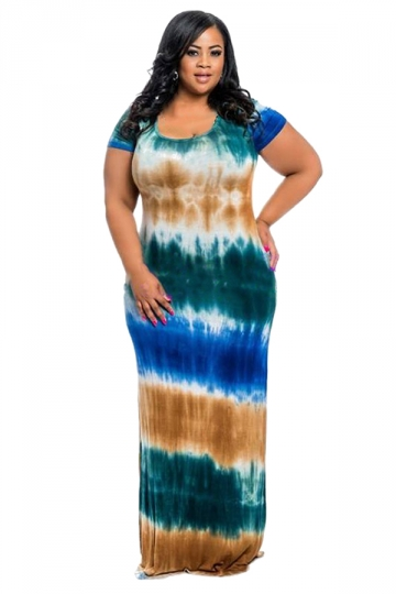 Women Plus Size Crew Neck Printed Short Sleeve Maxi Dress Green