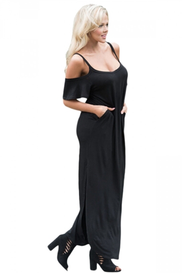 Women Straps Open Shoulder Plain Maxi Dress Black