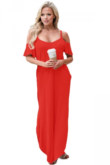 Women Straps Open Shoulder Plain Maxi Dress Red
