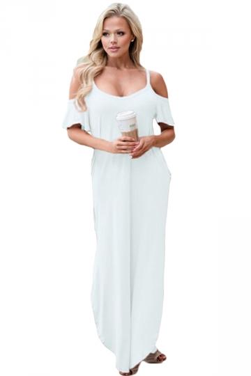 Women Straps Open Shoulder Plain Maxi Dress White