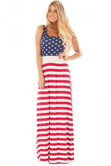 Womens Casual Sleeveless Flag Print Stars And Stripes Maxi Dress Blue