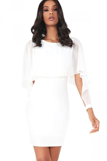 Women Ruffle Chiffon Patchwork Long Sleeve Bodycon Dress White