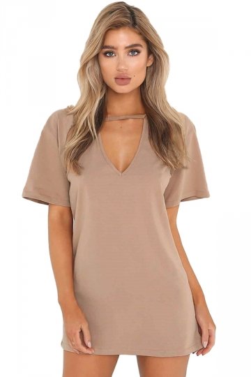 Women Casual V Neck Short Sleeve Loose Shirt Dress Khaki