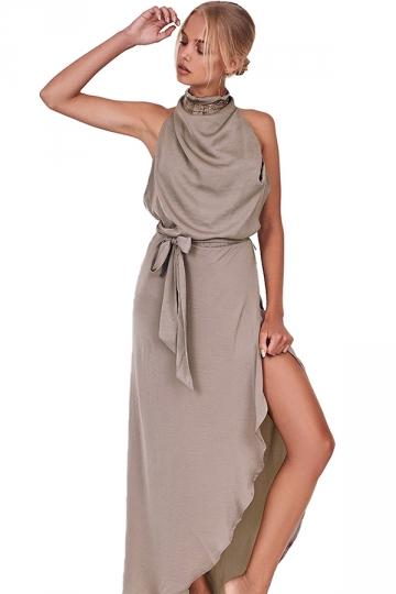 Women Sexy Halter Backless High Slits Evening Dress Khaki