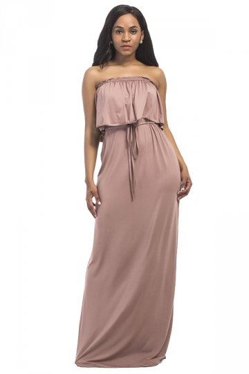 Women Sexy Plus Size Off Shoulder Draw String Maxi Dress Apricot