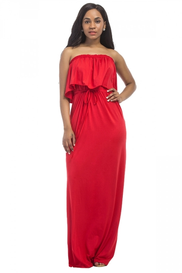 Women Sexy Plus Size Off Shoulder Draw String Maxi Dress Red