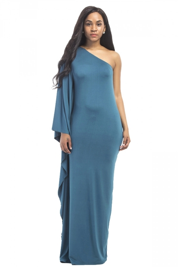 Women Sexy One Shoulder Ruffled Maxi Evening Dress Blue