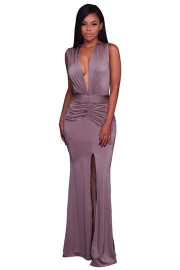 Women Sexy Deep V-Neck Pleated High Slit Club Wear Dress Purple