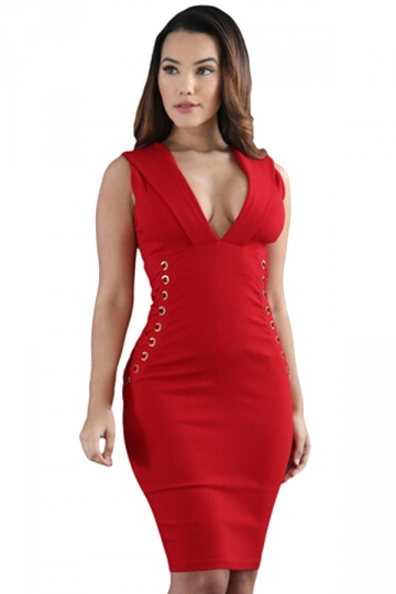 Women Sexy Deep V-Neck Zipper Lace-Up Sideways Bodycon Dress Red
