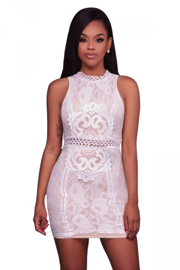 Women Sexy Lace Patchwork Hollow Out Waist Bodycon Dress White