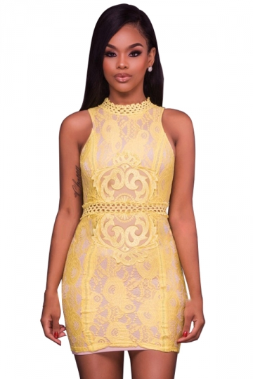 Women Sexy Lace Patchwork Hollow Out Waist Bodycon Dress Yellow
