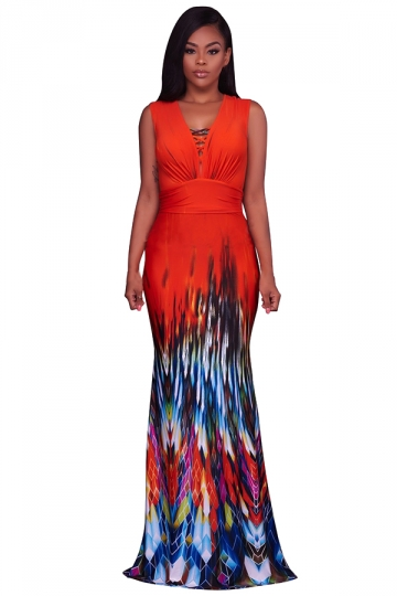 Women Sexy Printed Pleated Waist V Neck Fishtail Maxi Dress Red