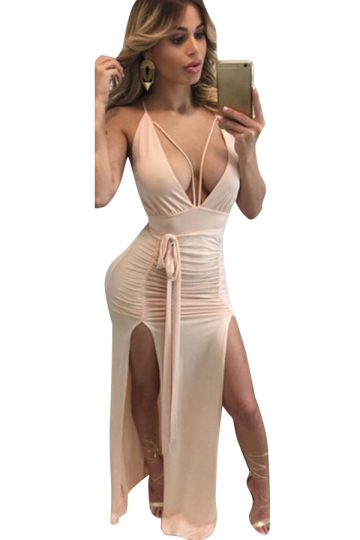 Women Deep V Neck Backless Pleated High Slits Club Wear Dress Pink