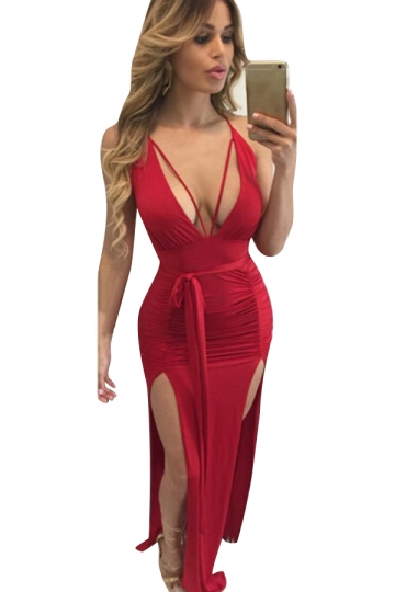 Women Deep V Neck Backless Pleated High Slits Club Wear Dress Red