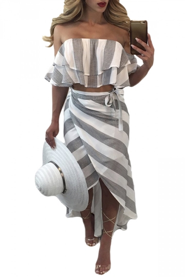 Women Sexy Off Shoulder Stripes Ruffle Club Wear Dress Suit Light Gray