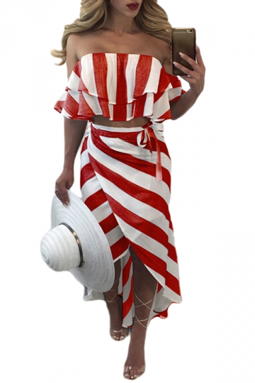Women Sexy Off Shoulder Stripes Ruffle Club Wear Dress Suit Red