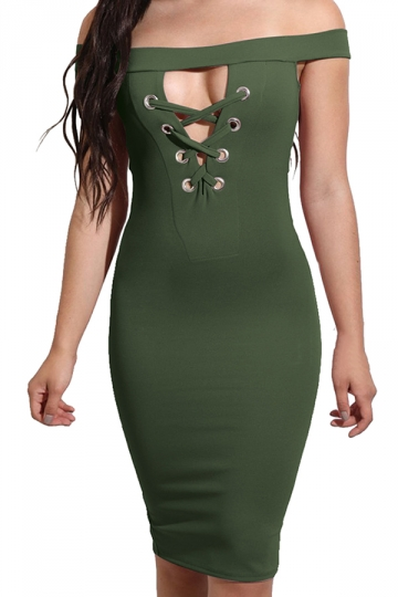 Women Off Shoulder Cut Out Lace Up Slimming Club Wear Dress Army Green