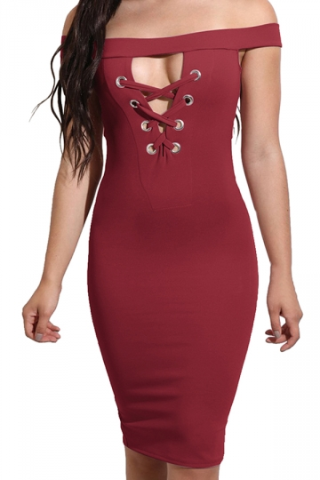 Women Off Shoulder Cut Out Lace Up Slimming Club Wear Dress Ruby